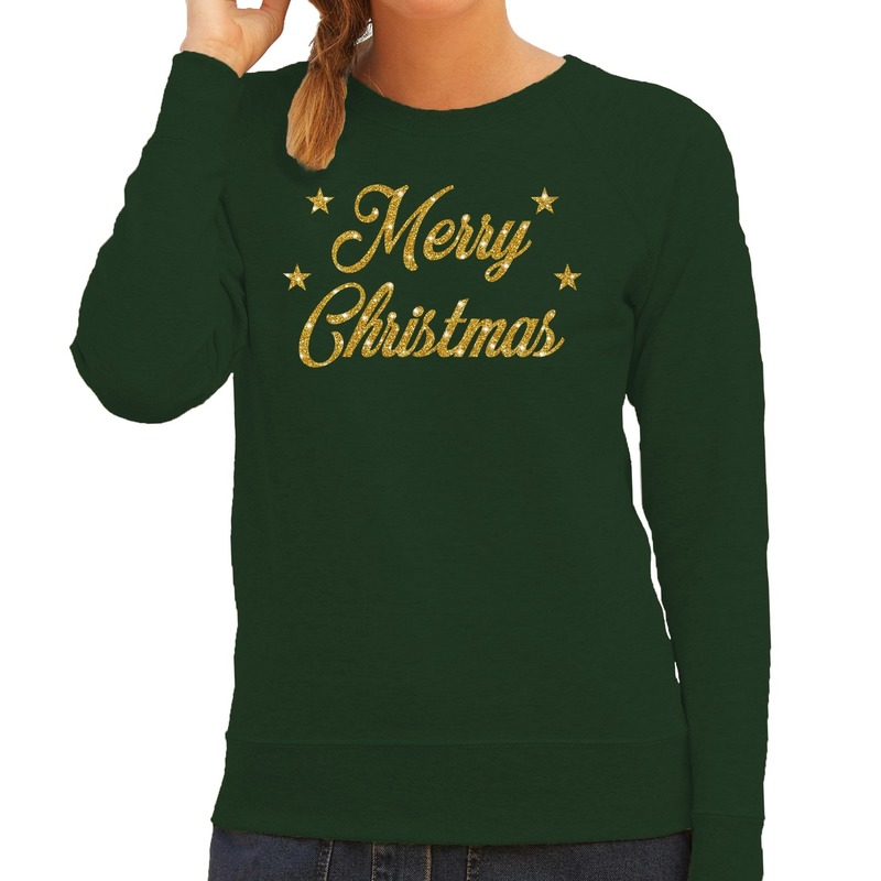 Foute kerstborrel trui / kersttrui Merry Christmas goud / groen dames M (38) Groen
