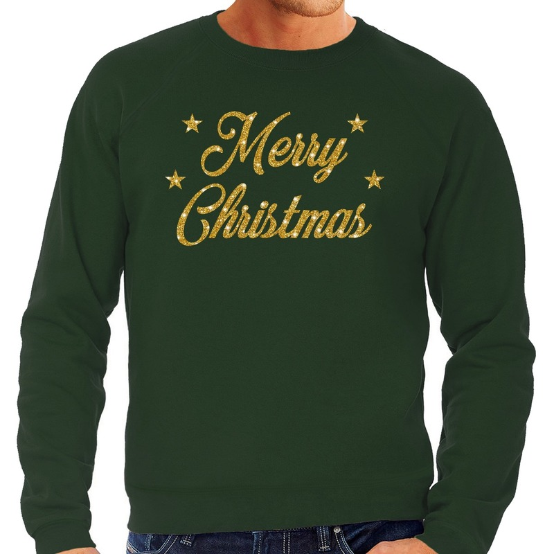 Foute kerstborrel trui / kersttrui Merry Christmas goud / groen heren XL (54) Groen