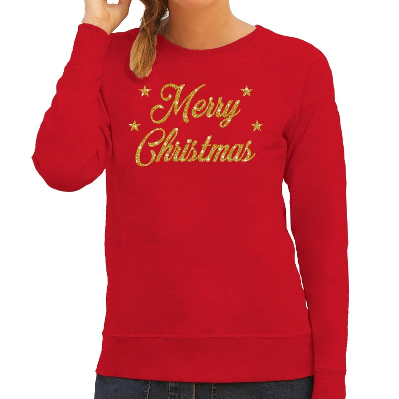 Foute kerstborrel trui / kersttrui Merry Christmas goud / rood dames XL (42) Rood