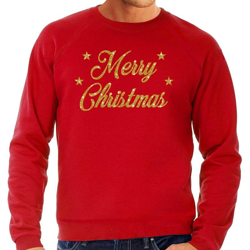 Foute kerstborrel trui / kersttrui Merry Christmas goud / rood heren L (52) Rood