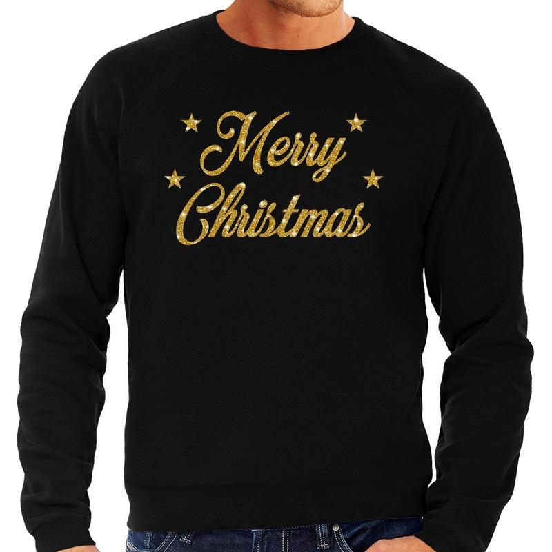 Foute kerstborrel trui / kersttrui Merry Christmas goud / zwart heren XL (54) Zwart