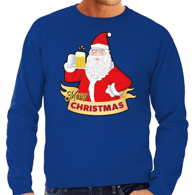 Foute kerstborrel trui / kersttrui Merry Christmas kerstman met een peul bier / biertje blauw voor heren L (52) Blauw
