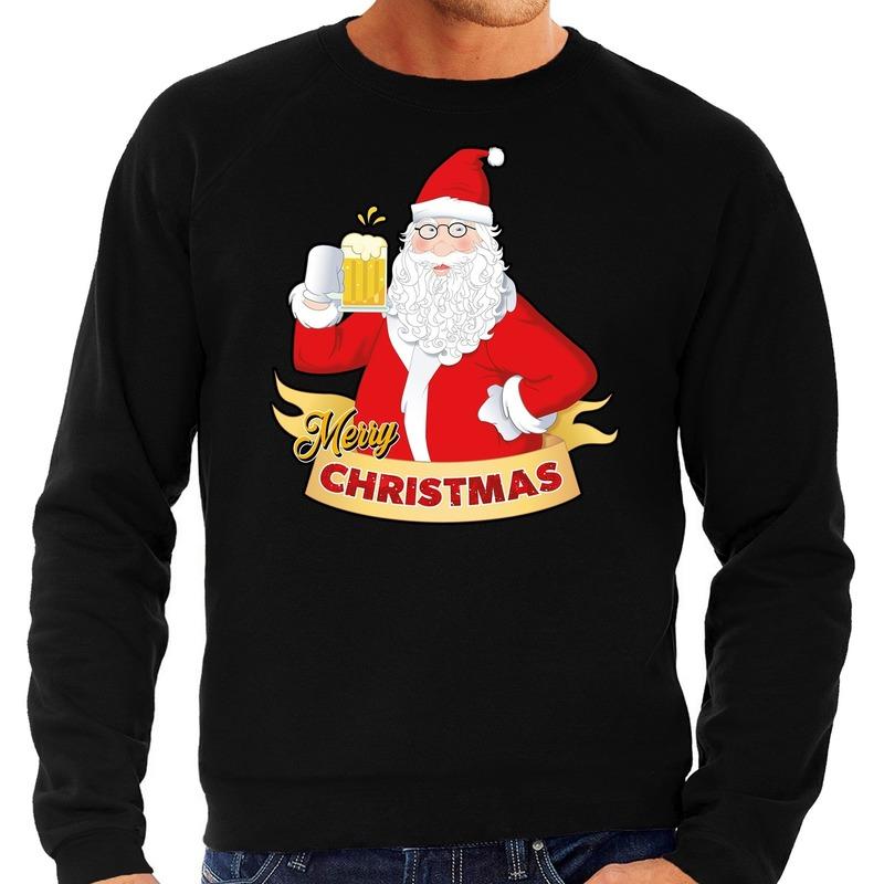 Foute kerstborrel trui / kersttrui Merry Christmas kerstman met een peul bier / biertje zwart voor heren XL (54) Zwart