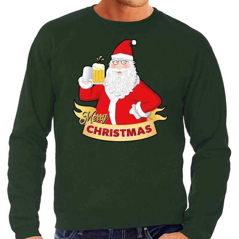 Foute kerstborrel trui - kersttrui Merry Christmas kerstman met een pul bier groen voor heren 2XL (5