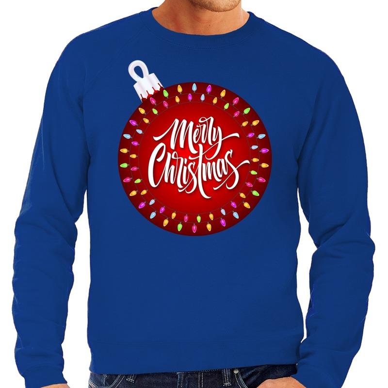 Foute kerstborrel trui / kersttrui merry christmas met grote kerstbal blauw voor heren L (52) Blauw