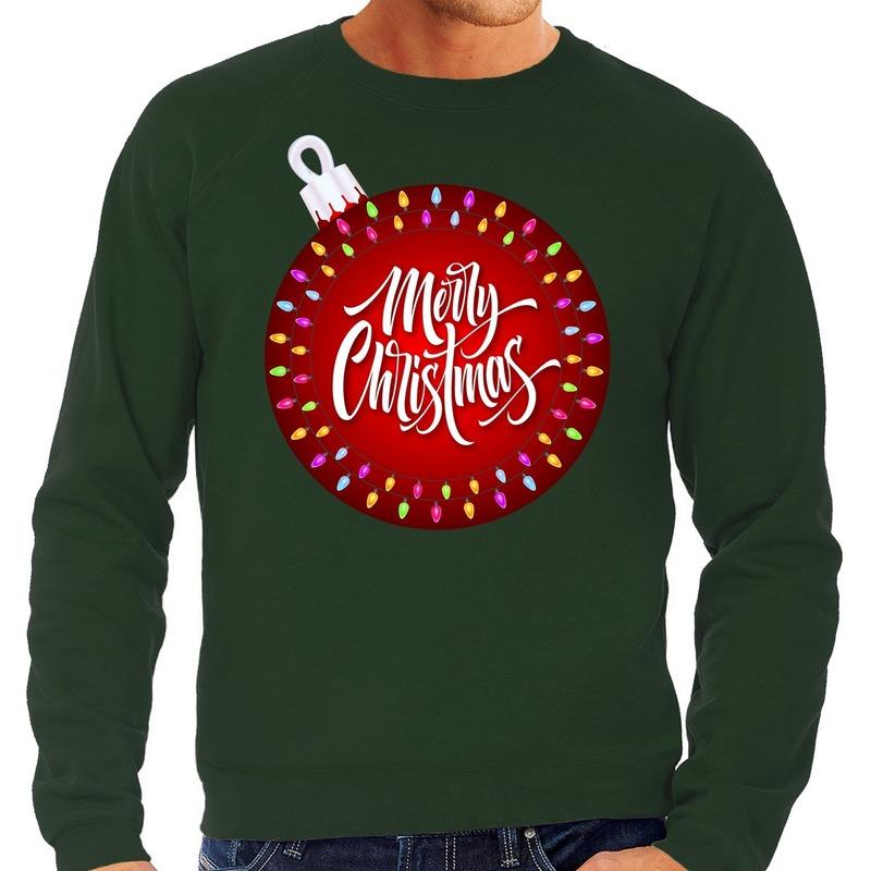 Foute kerstborrel trui / kersttrui merry christmas met grote kerstbal groen voor heren L (52) Groen