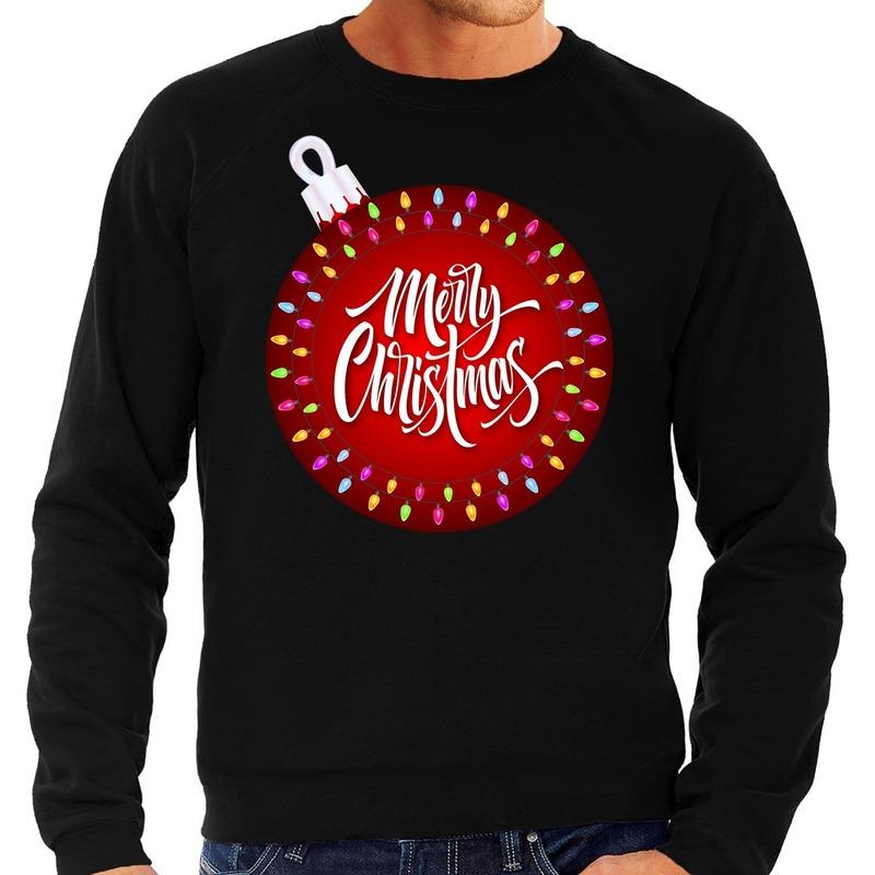 Foute kerstborrel trui / kersttrui merry christmas met grote kerstbal zwart voor heren L (52) Zwart