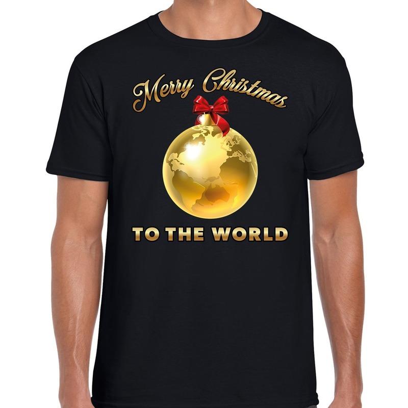 Foute kerstborrel trui - kersttrui Merry Christmas to the world op zwart heren XL (54) -
