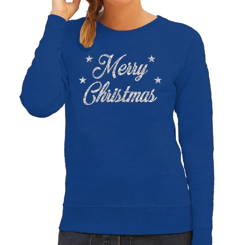Foute kerstborrel trui / kersttrui Merry Christmas zilver / blauw dames 2XL (44) Blauw