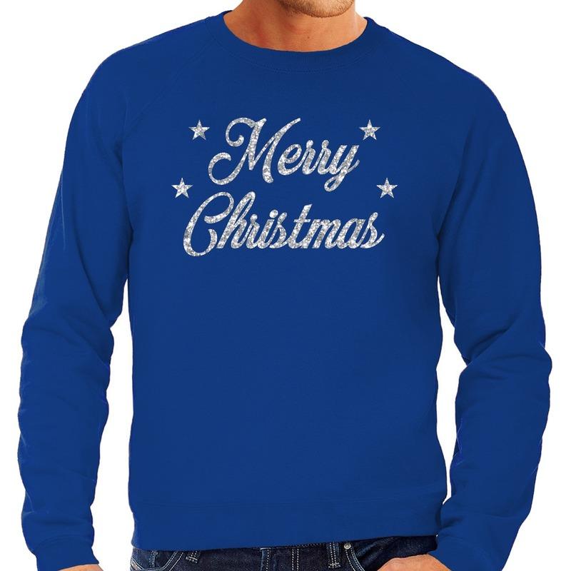 Foute kerstborrel trui / kersttrui Merry Christmas zilver / blauw heren XL (54) Blauw