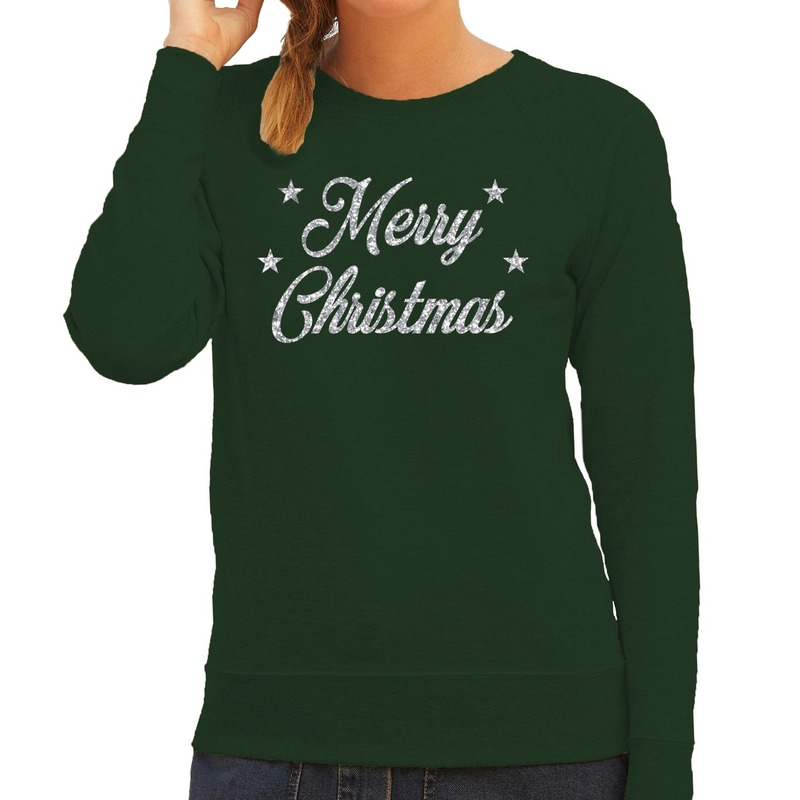Foute kerstborrel trui / kersttrui Merry Christmas zilver / groen dames XS (34) Groen