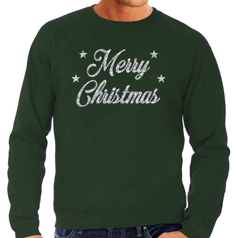 Foute kerstborrel trui / kersttrui Merry Christmas zilver / groen heren M (50) Groen