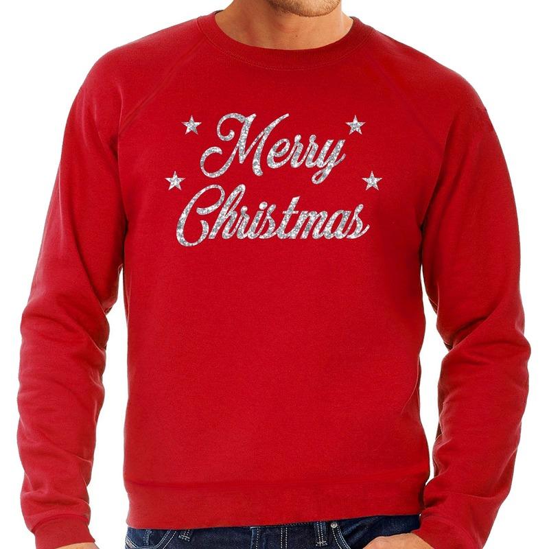 Foute kerstborrel trui / kersttrui Merry Christmas zilver / rood heren S (48) Rood