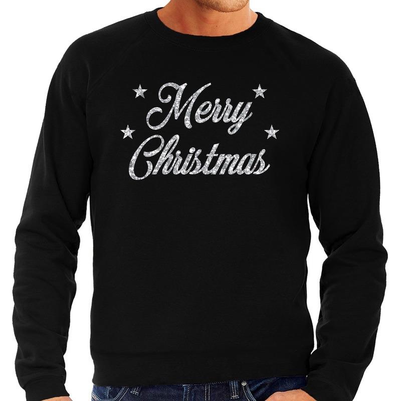 Foute kerstborrel trui / kersttrui Merry Christmas zilver / zwart heren M (50) Zwart