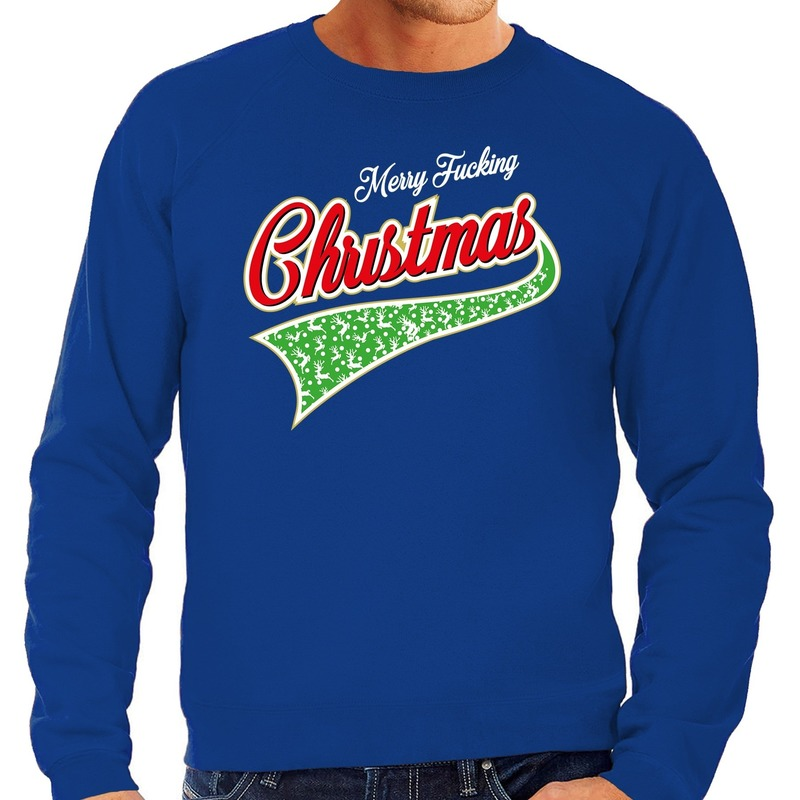 Foute kerstborrel trui / kersttrui Merry fucking christmas blauw voor heren M (50) Blauw