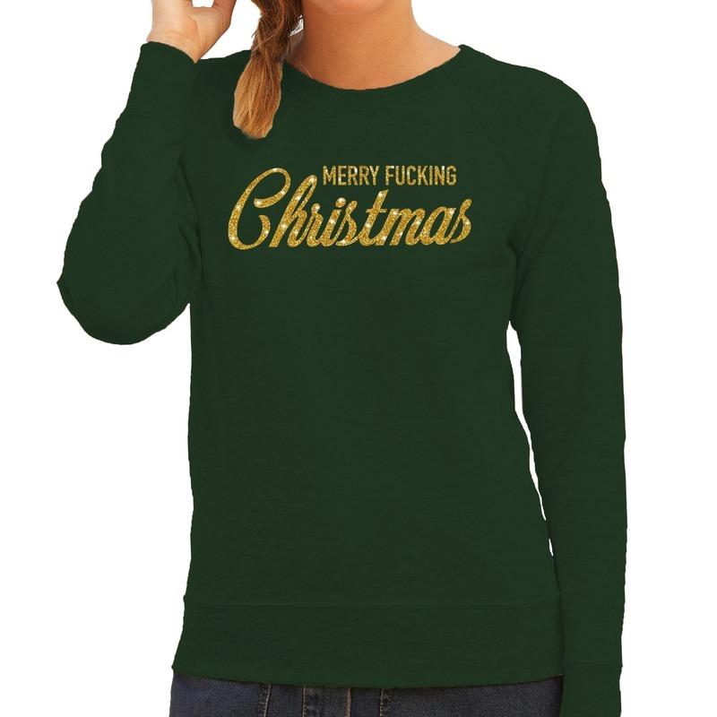 Foute kerstborrel trui / kersttrui Merry Fucking Christmas glitter goud op groen dames XS (34) Groen