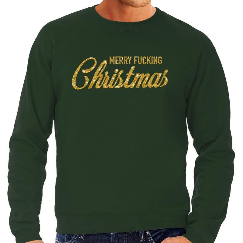 Foute kerstborrel trui / kersttrui Merry Fucking Christmas glitter goud op groen heren 2XL (56) Groen