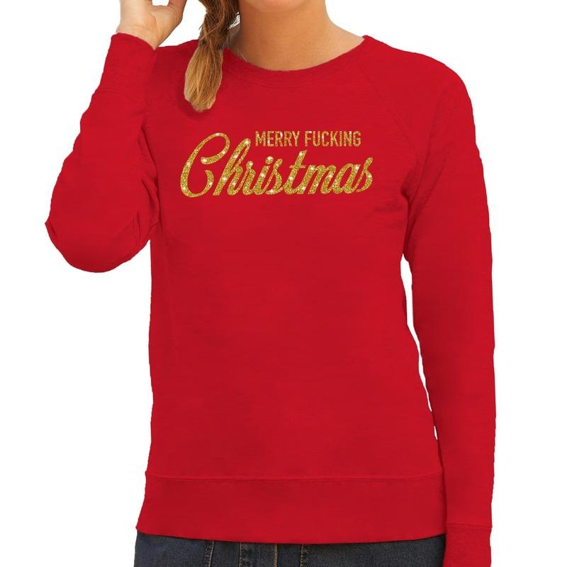 Foute kerstborrel trui / kersttrui Merry Fucking Christmas glitter goud op rood dames XS (34) Rood