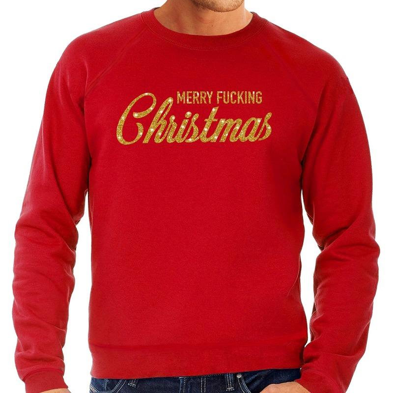 Foute kerstborrel trui / kersttrui Merry Fucking Christmas glitter goud op rood heren XL (54) Rood