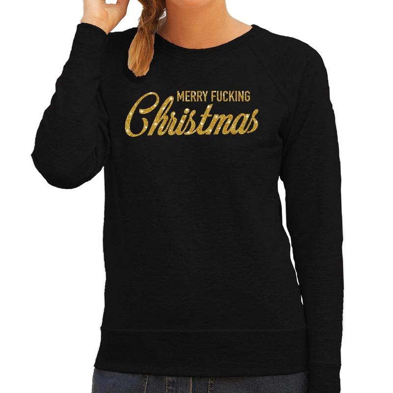 Foute kerstborrel trui / kersttrui Merry Fucking Christmas glitter goud op zwart dames 2XL (44) Zwart