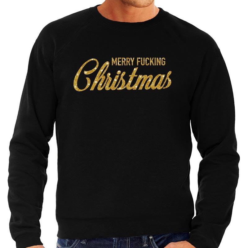 Foute kerstborrel trui / kersttrui Merry Fucking Christmas glitter goud op zwart heren L (52) Zwart