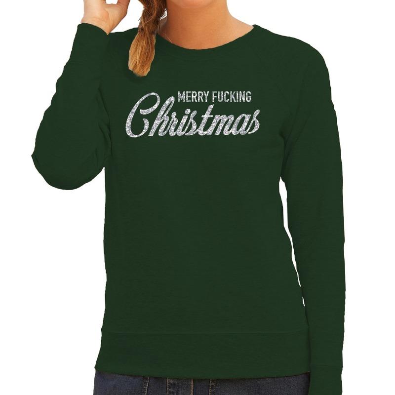 Foute kerstborrel trui / kersttrui Merry Fucking Christmas glitter zilver op groen dames XS (34) Groen