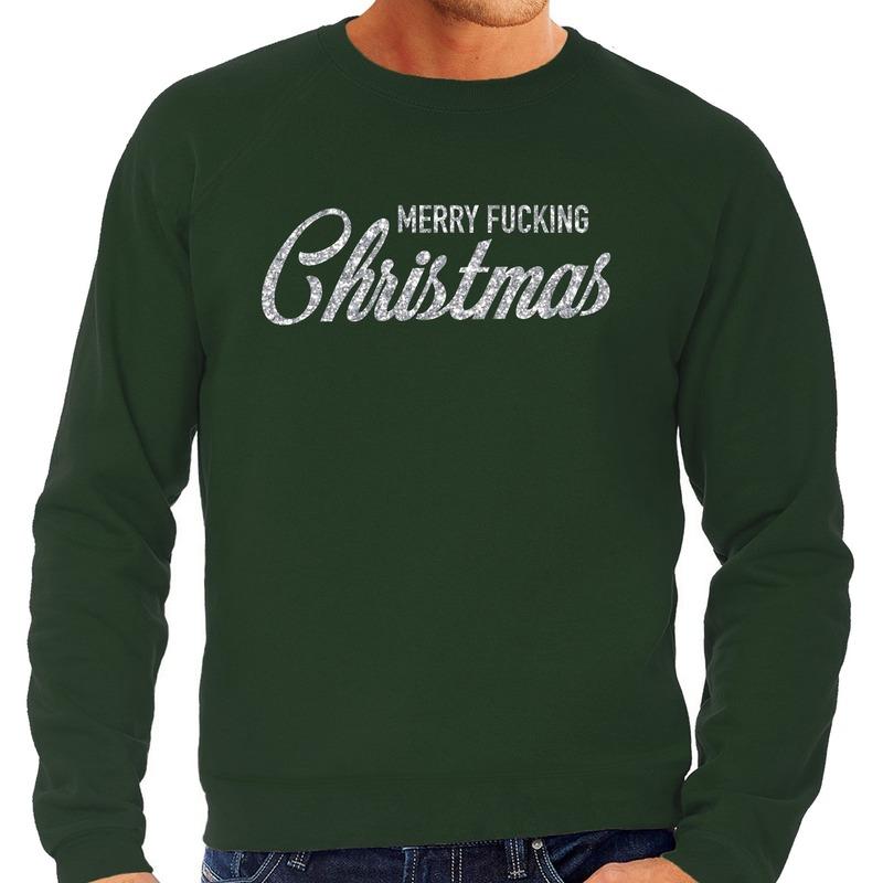 Foute kerstborrel trui / kersttrui Merry Fucking Christmas glitter zilver op groen heren L (52) Groen