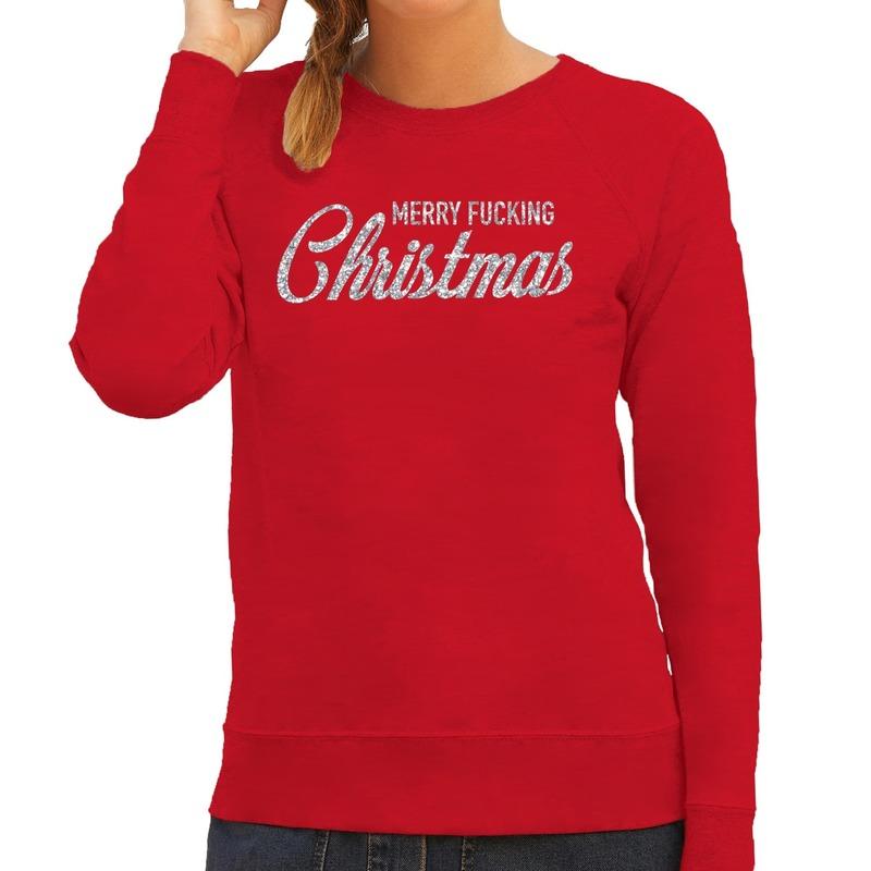 Foute kerstborrel trui / kersttrui Merry Fucking Christmas glitter zilver op rood dames XS (34) Rood