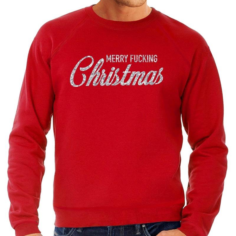 Foute kerstborrel trui / kersttrui Merry Fucking Christmas glitter zilver op rood heren XL (54) Rood