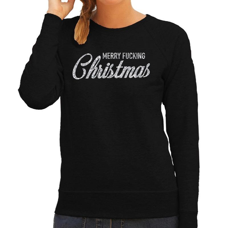 Foute kerstborrel trui / kersttrui Merry Fucking Christmas glitter zilver op zwart dames M (38) Zwart