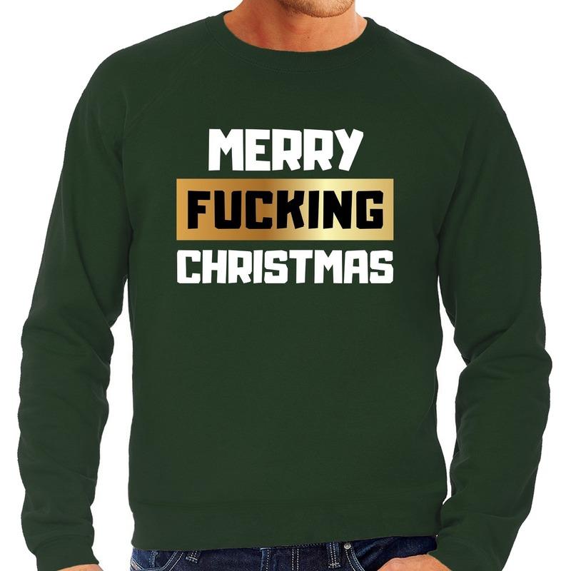 Foute kerstborrel trui / kersttrui merry fucking christmas groen voor heren M (50) Groen