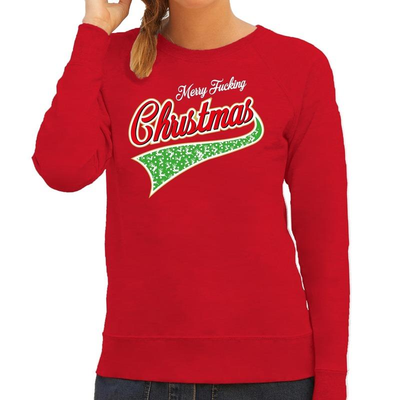 Foute kerstborrel trui / kersttrui Merry fucking christmas rood voor dames S (48) Rood