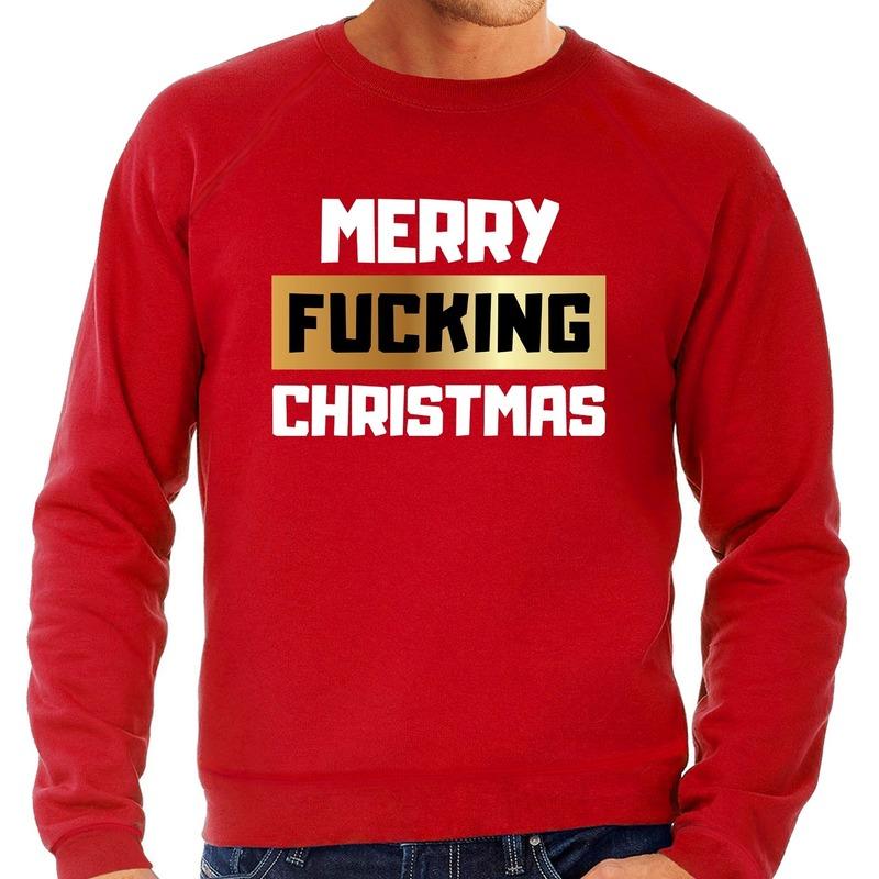 Foute kerstborrel trui / kersttrui merry fucking christmas rood voor heren XL (54) Rood