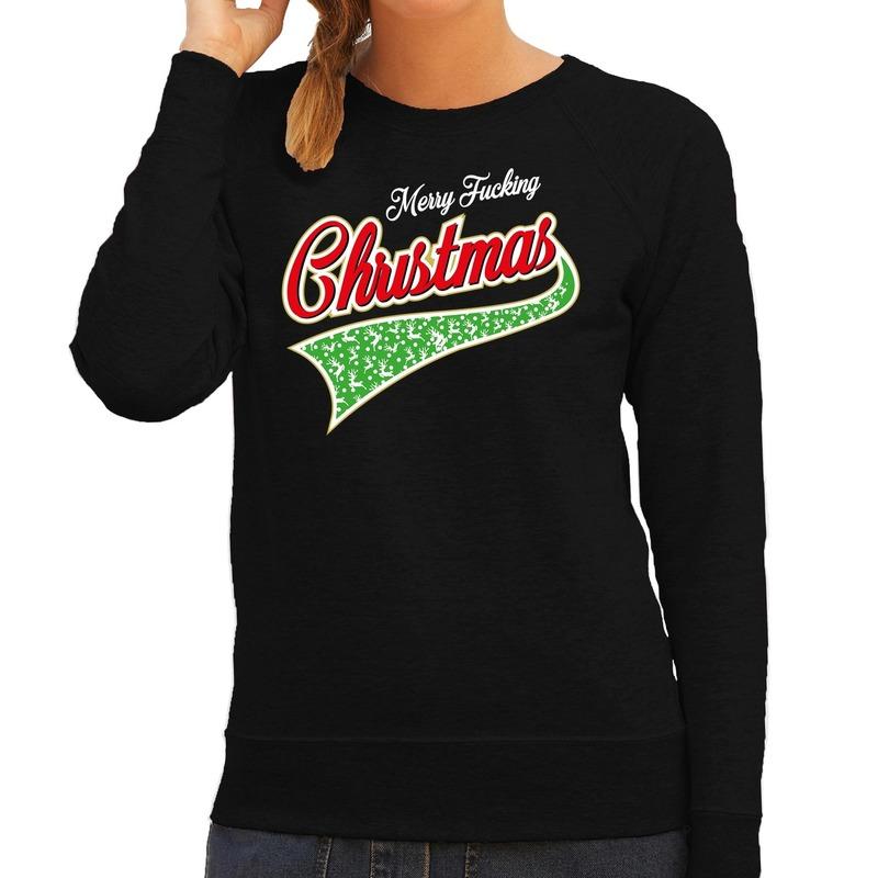 Foute kerstborrel trui / kersttrui Merry fucking christmas zwart voor dames 2XL (56) Zwart