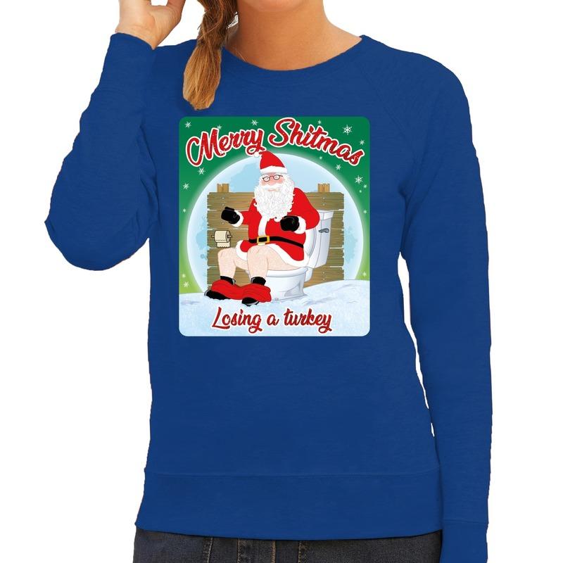 Foute kerstborrel trui / kersttrui merry shitmas blauw voor dames L (40) Blauw