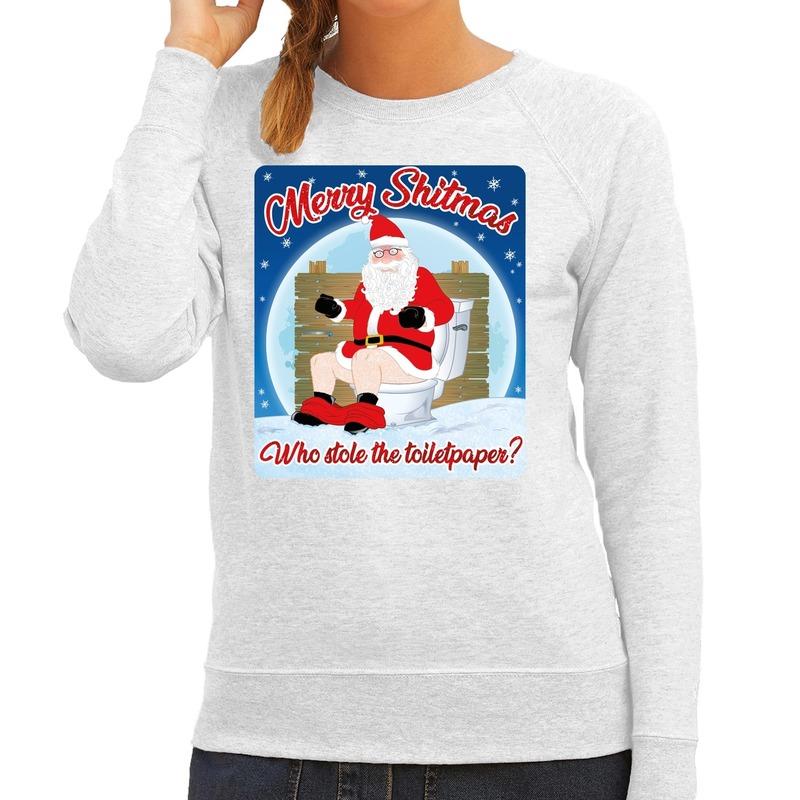 Foute kerstborrel trui / kersttrui merry shitmas grijs voor dames XS (34) Grijs