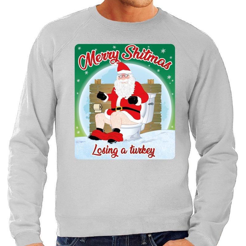 Foute kerstborrel trui / kersttrui merry shitmas grijs voor heren M (50) Grijs