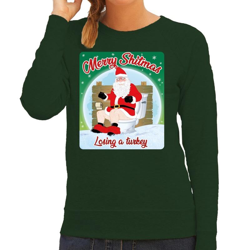Foute kerstborrel trui / kersttrui merry shitmas groen voor dames L (40) Groen