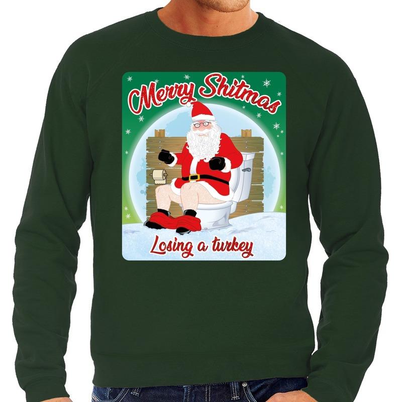 Foute kerstborrel trui / kersttrui merry shitmas groen voor heren L (52) Groen