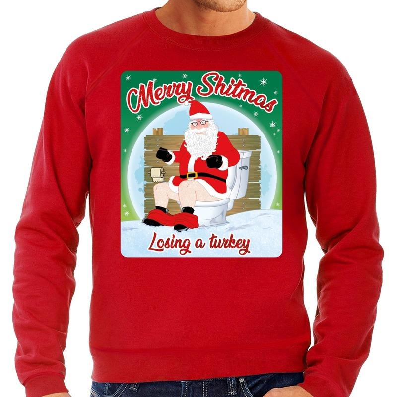 Foute kerstborrel trui / kersttrui merry shitmas rood voor heren S (48) Rood
