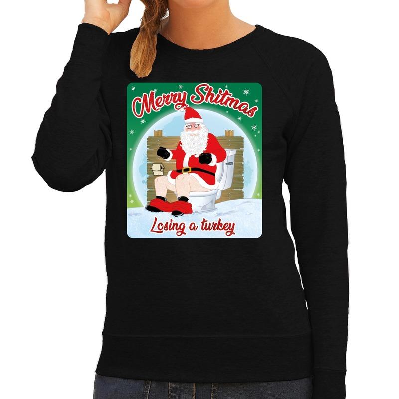 Foute kerstborrel trui / kersttrui merry shitmas zwart voor dames M (38) Zwart