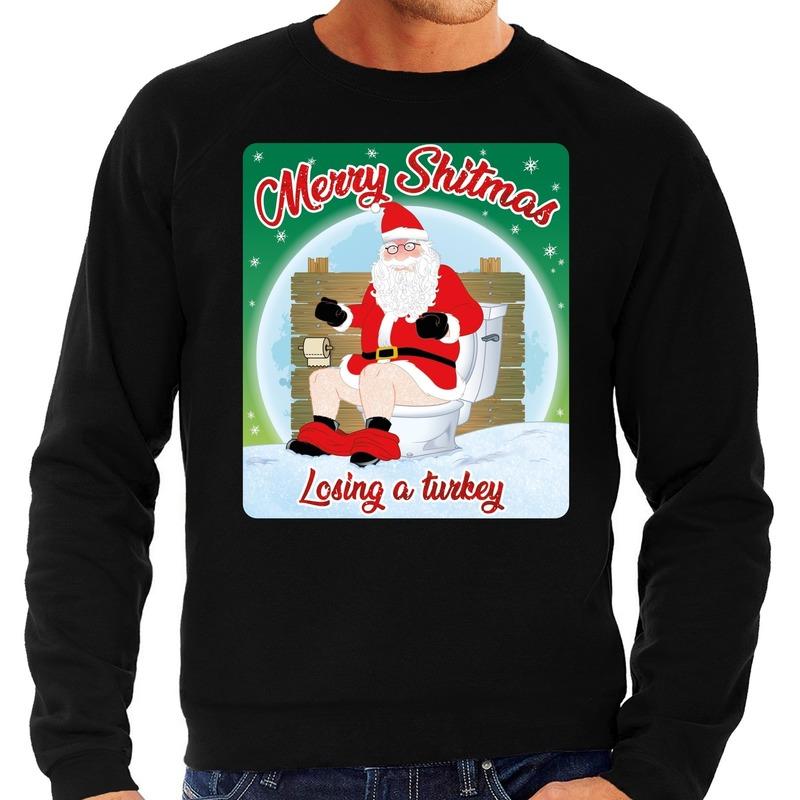 Foute kerstborrel trui / kersttrui merry shitmas zwart voor heren L (52) Zwart