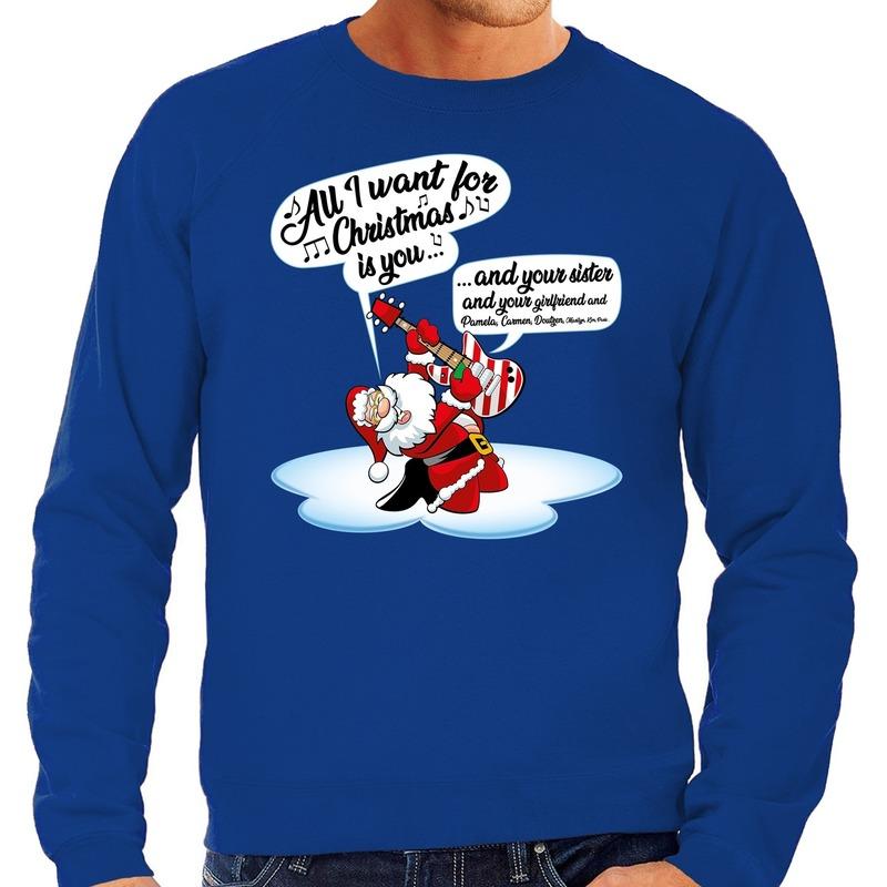 Foute kerstborrel trui / kersttrui met zingende kerstman en gitaar all i want for christmas is you blauw voor heren 2XL (56) Blauw