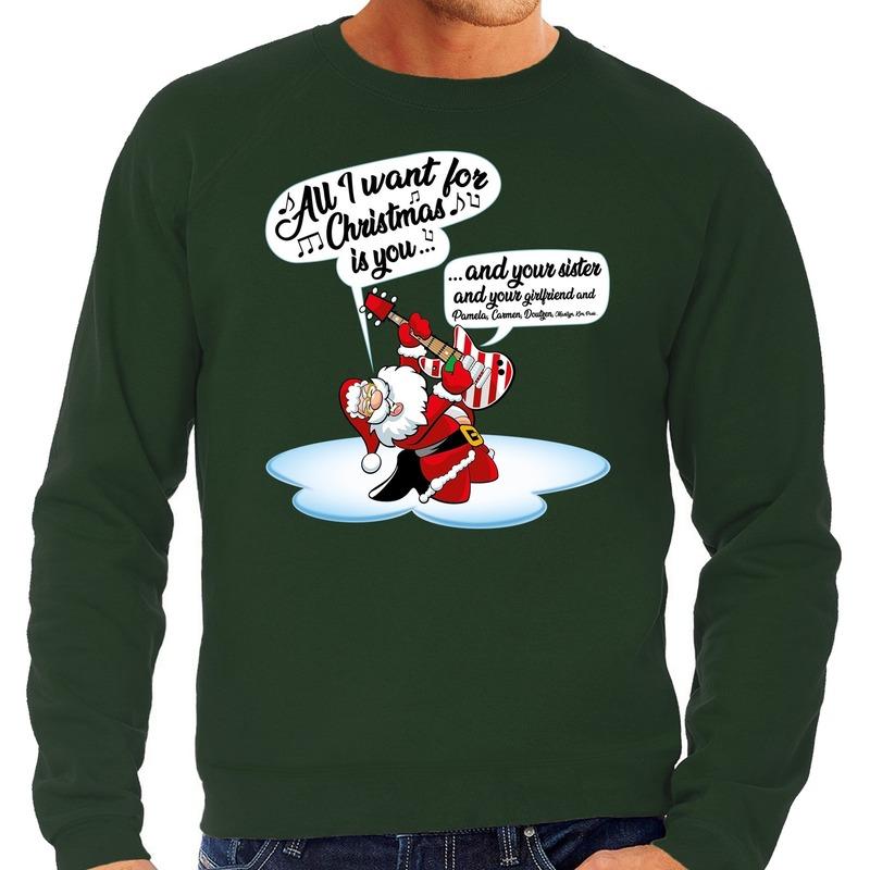 Foute kerstborrel trui / kersttrui met zingende kerstman en gitaar groen voor heren 2XL (56) Groen