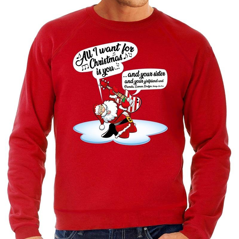 Foute kerstborrel trui / kersttrui met zingende kerstman en gitaar rood voor heren S (48) Rood