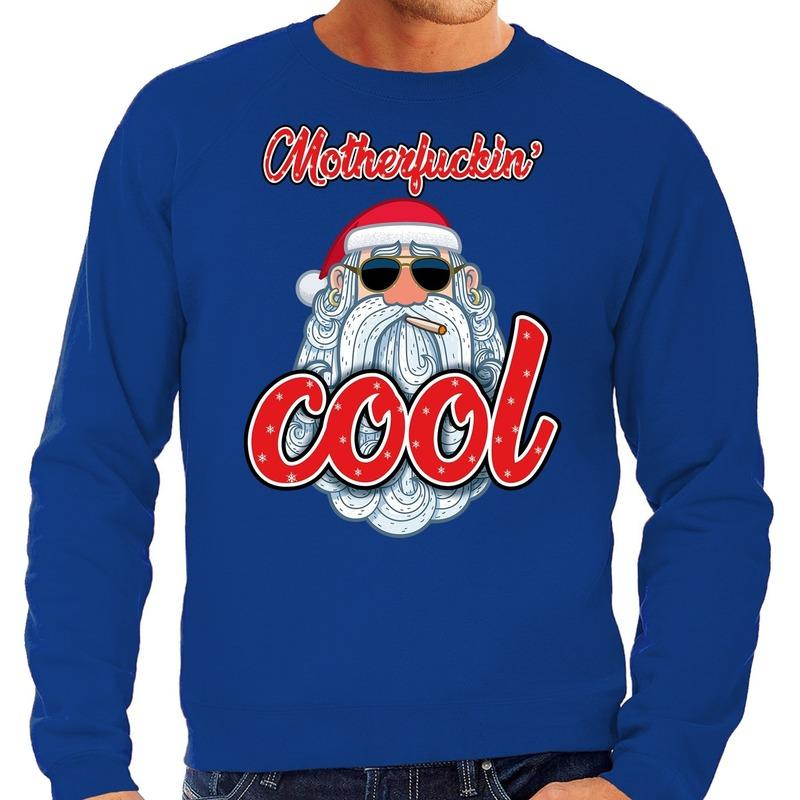 Foute kerstborrel trui / kersttrui motherfucking cool / stoere santa blauw voor heren S (48) Blauw