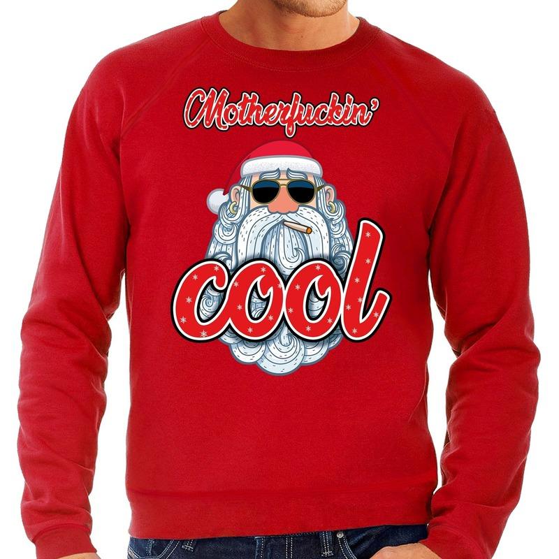 Foute kerstborrel trui / kersttrui motherfucking cool / stoere santa rood voor heren XL (54) Rood