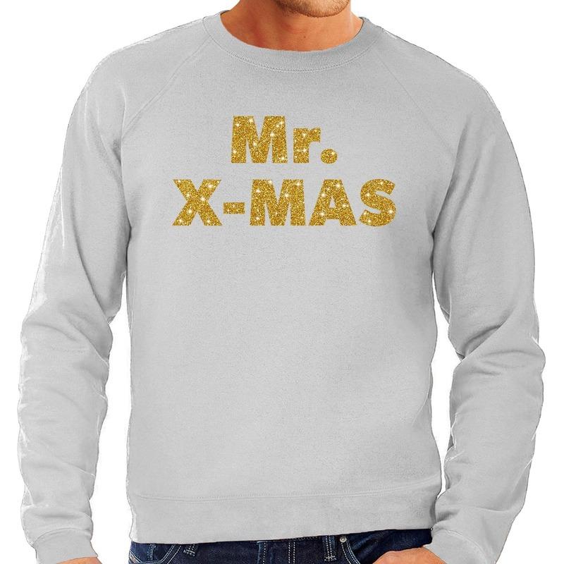 Foute kerstborrel trui / kersttrui Mr. x-mas goud / grijs heren M (50) Grijs