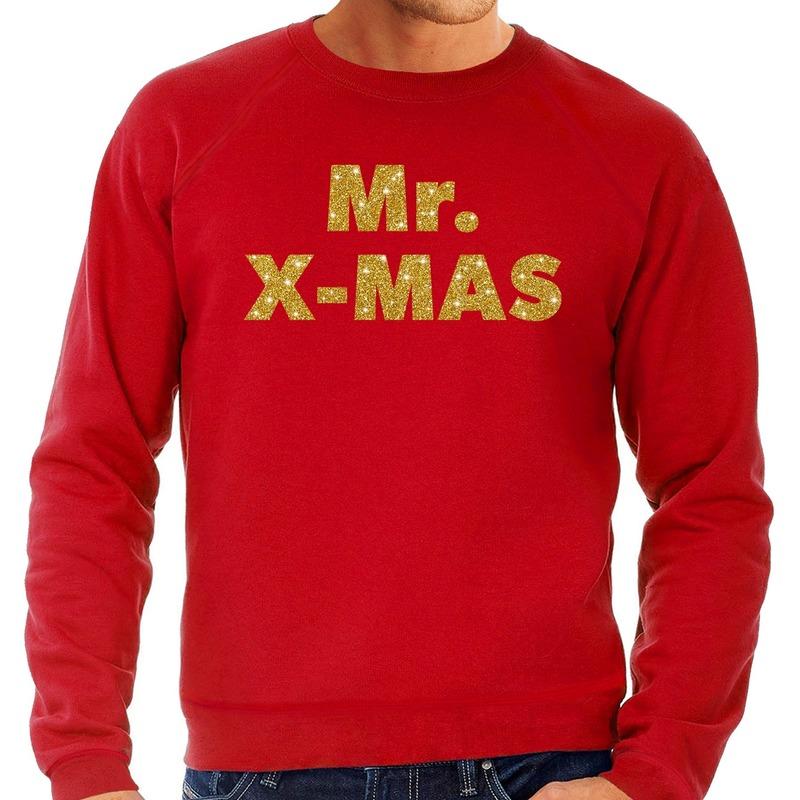 Foute kerstborrel trui / kersttrui Mr. x-mas goud / rood heren S (48) Rood