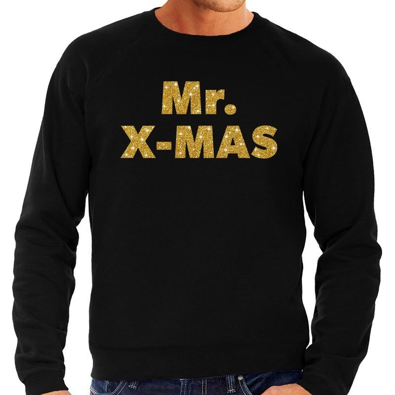 Foute kerstborrel trui / kersttrui Mr. x-mas goud / zwart heren 2XL (56) Zwart